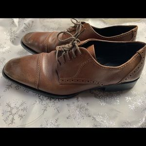 JOHNSTON & MURPHY Brown Leather Oxford Shoes 10.5